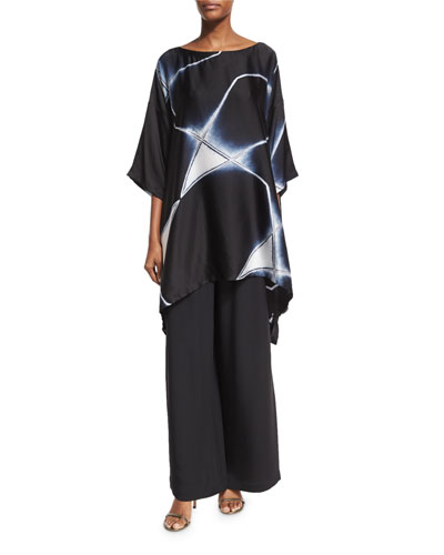 Abstract Geometric Shibori Silk Top, Black