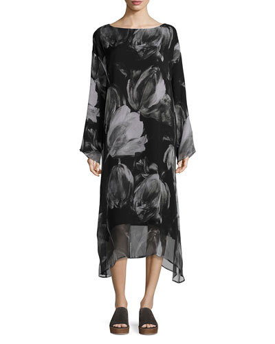 Double-Layer Printed Chiffon A-Line Dress, Black