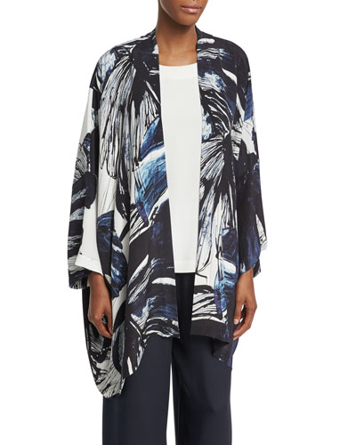 Printed Silk Open-Front Jacket, Navy