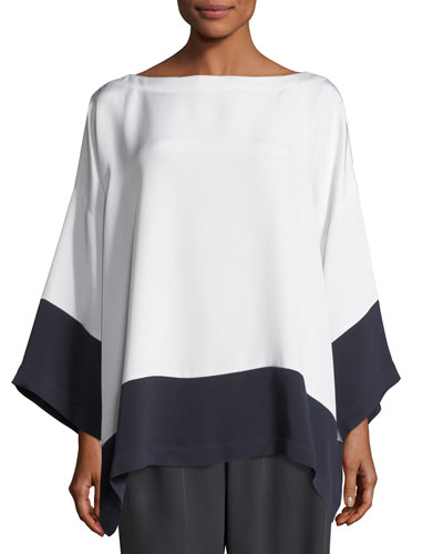 Colorblock Silk Tunic