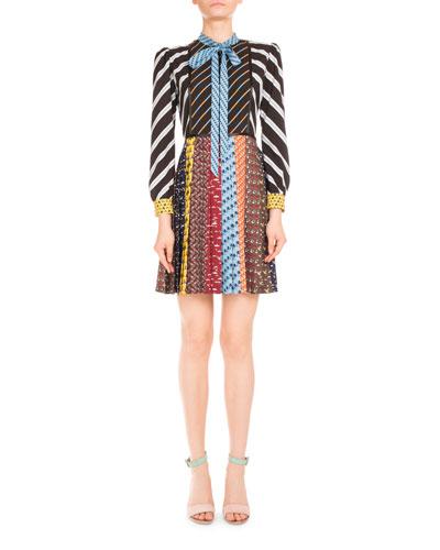 Knight Long-Sleeve Tie-Neck Animal-Print Dress