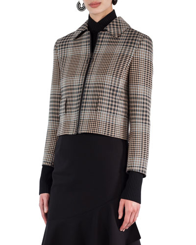 Glen Plaid Zip-Front Jacket