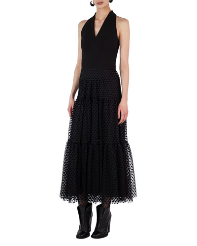 Velvet Dot Tulle Maxi Dress