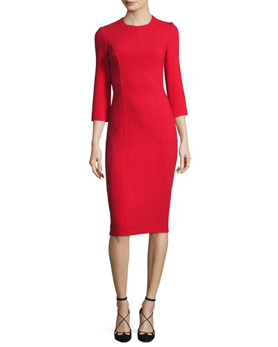 Boucle Crepe 3/4-Sleeve Sheath Dress, Crimson