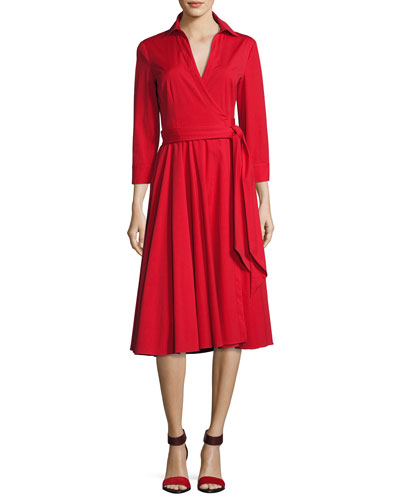 Wrap-Front 3/4-Sleeve Shirtdress, Crimson