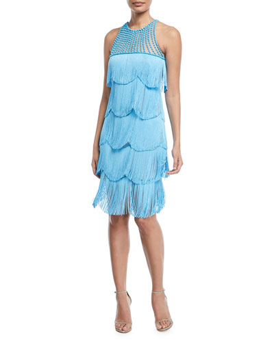 Beaded Fringe Sleeveless Cocktail Dress