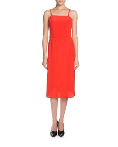Sleeveless Crepe Slip Dress, Red