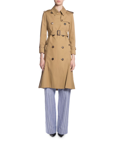 Double-Breasted Kick-Pleat Trench Coat