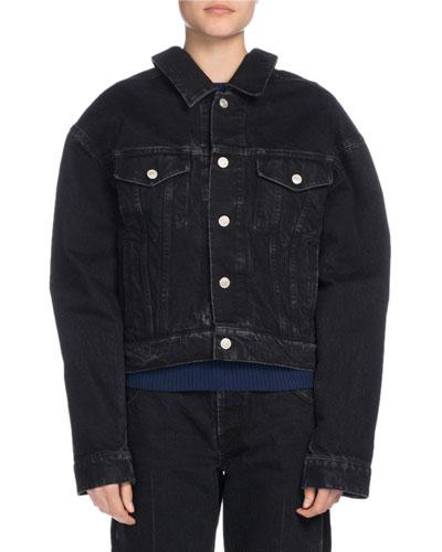 Oversized Denim Jacket, Dark Blue