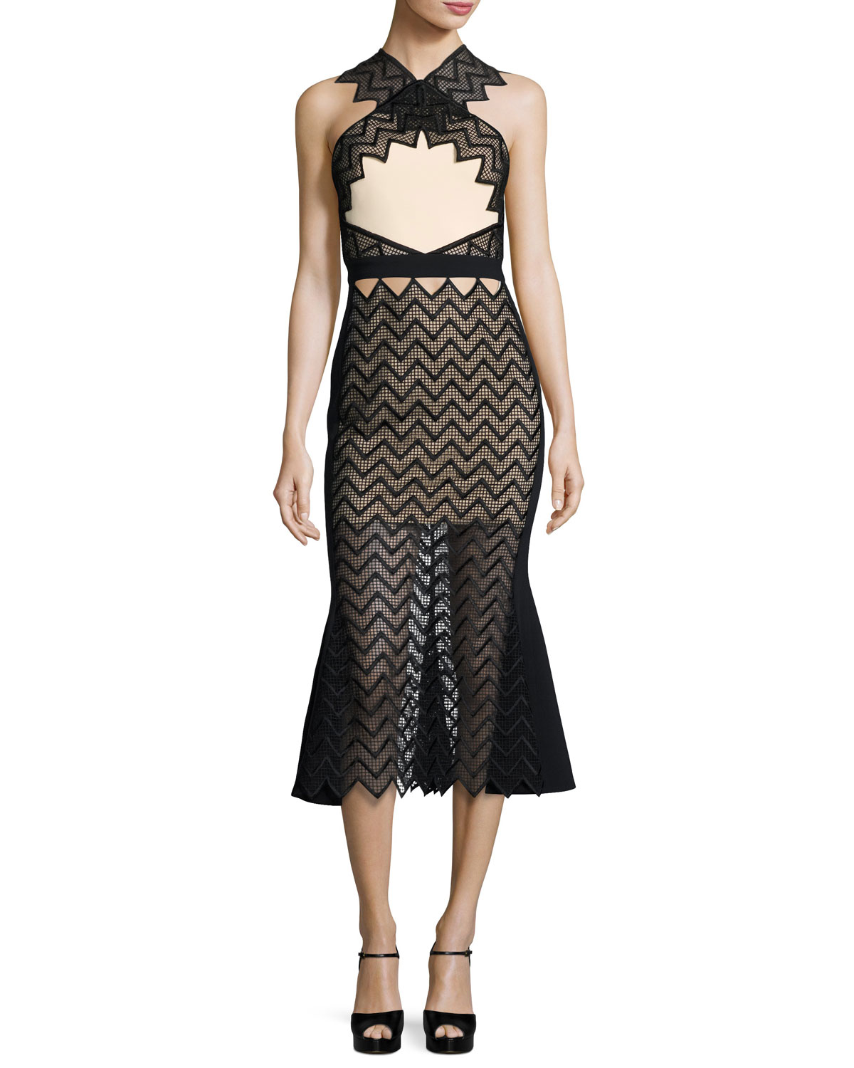 Macrame Cady Halter Midi Dress, Black/Peach