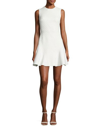 Lace-Back Fit-and-Flare Dress, White