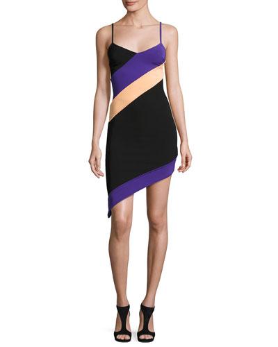 Asymmetric Colorblock Cami Dress, Multi