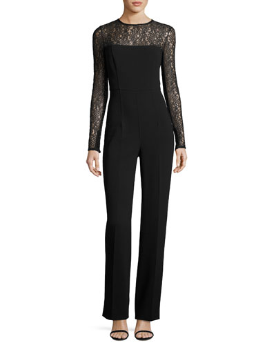 Wool-Crepe Long-Sleeve Jumpsuit, Black