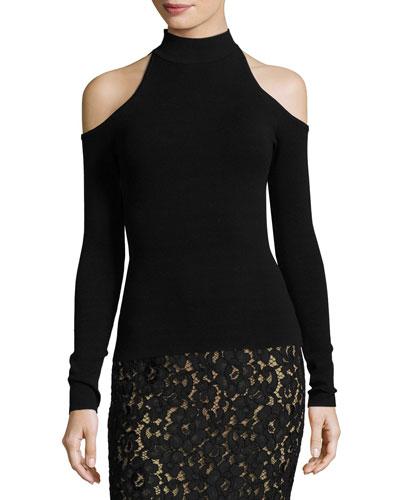 Cold-Shoulder Mock-Neck Sweater, Black