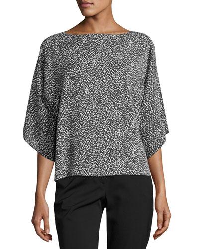 Leopard-Print Silk Boat-Neck Top, Black/White