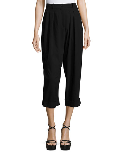 Cropped Pleat-Front Virgin Wool Carrot Pants, Black