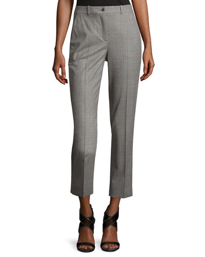 Sam Cropped Stretch-Wool Pants, Gray
