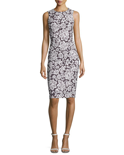 Floral Sleeveless Sheath Dress, Black/White