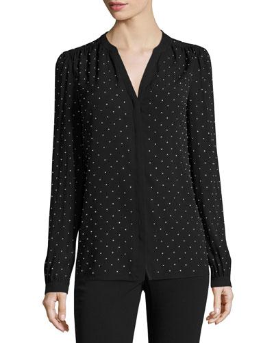 Studded Georgette Split-Neck Blouse, Black/Silver