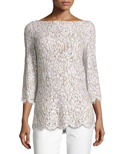 Embellished Lace 3/4-Sleeve Tunic Top, White