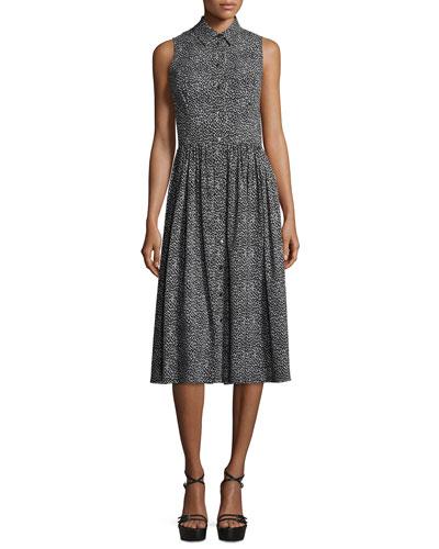 Leopard-Print Sleeveless Silk Shirtdress, Black/White