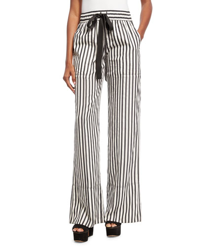 Striped Tie-Waist Silk Pajama Pants, Black/White