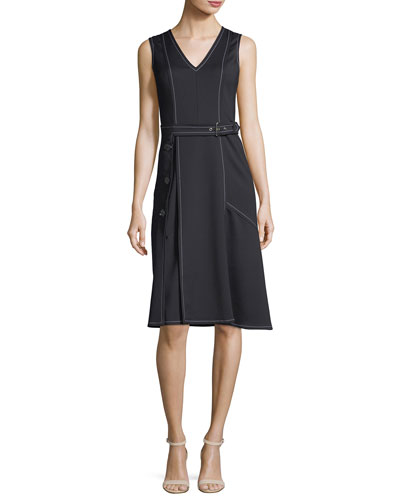 Sleeveless Topstitched Dress with Belt