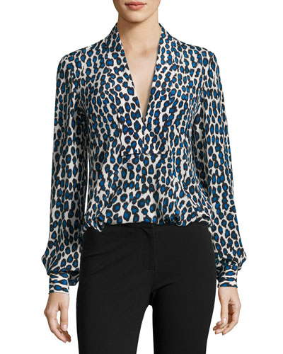 Leopard-Print Silk Blouse, Blue Pattern
