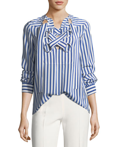 Striped Lace-Up Silk Top