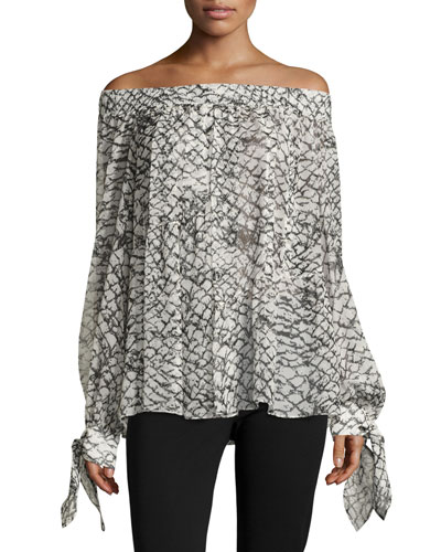 Printed Silk Off-Shoulder Top, White/Black