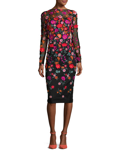 Floral-Embroidered Long-Sleeve Dress, Multi