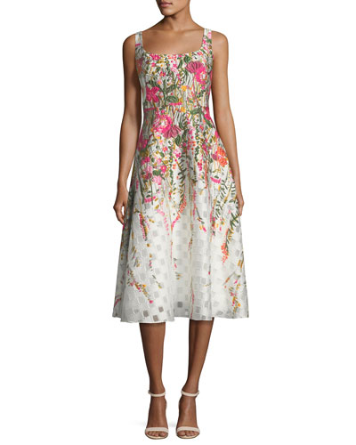Embroidered Scoop-Neck Cocktail Dress