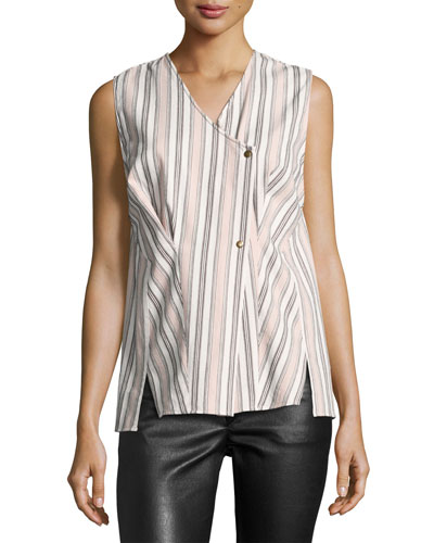Striped Cotton Wrap Top, Ecru