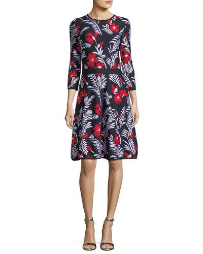 Floral Knit Elbow-Sleeve Dress, Multi Pattern