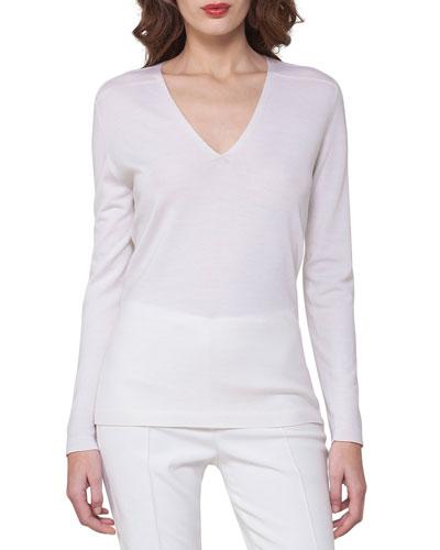 Cashmere-Silk V-Neck Pullover, Off White