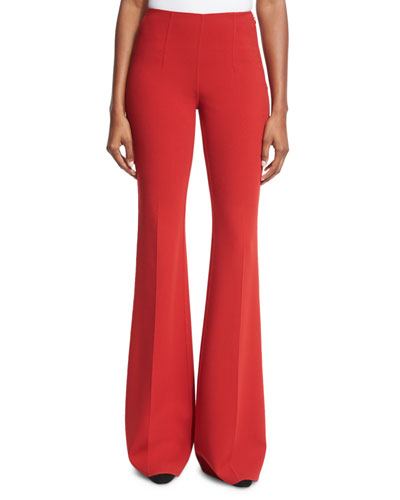 Wool-Crepe Side-Zip Pants, Crimson