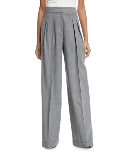 Tapered Pleat-Front Pants, Gray