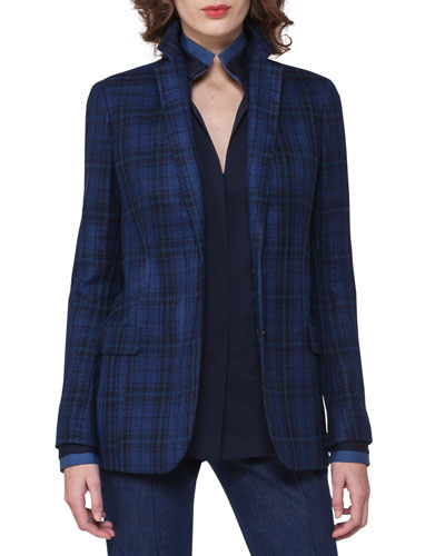 Plaid Sateen Two-Button Jacket, Dark Blue