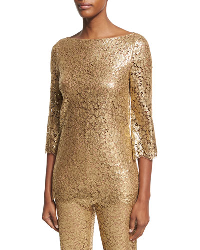 Metallic Lace 3/4-Sleeve Tunic, Gold