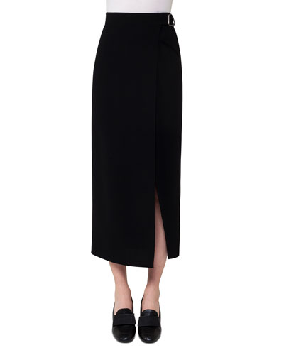Belted Wrap Midi Skirt, Black
