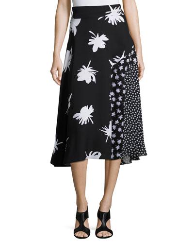 Patchwork Floral-Print Midi Skirt, Black/White
