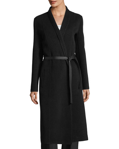 Shawl-Collar Cashmere Wrap Coat