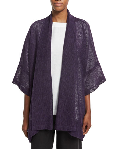 Mesh-Knit Half-Sleeve Jacket, Purple