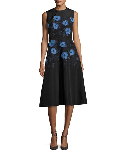 Embroidered Faille A-Line Dress, Black