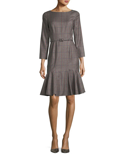 Fluted Plaid Bracelet-Sleeve Dress