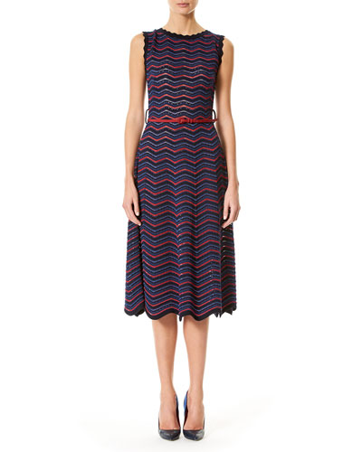 Sleeveless Knit Wave-Striped Midi Dress