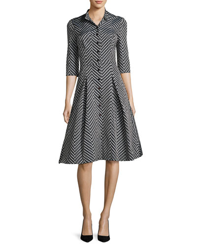 3/4-Sleeve Polka Dot Shirtdress, Black Pattern