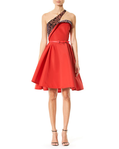 Leopard-Print One-Shoulder Cocktail Dress, Red