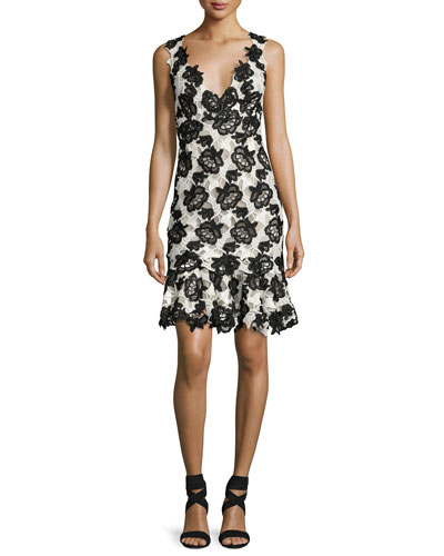 Sleeveless Bicolor Guipure Lace Dress, White/Black