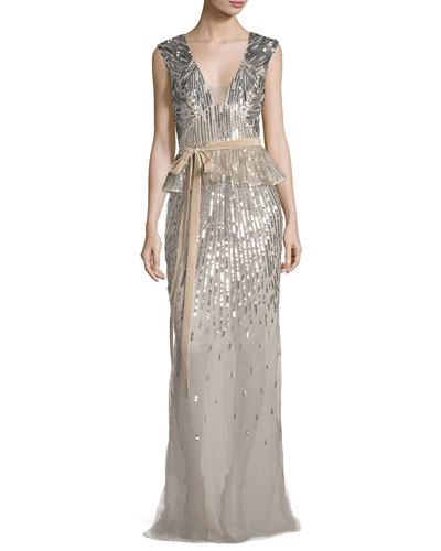 Sequined V-Neck Peplum Gown with Velvet Belt, Rose Gold